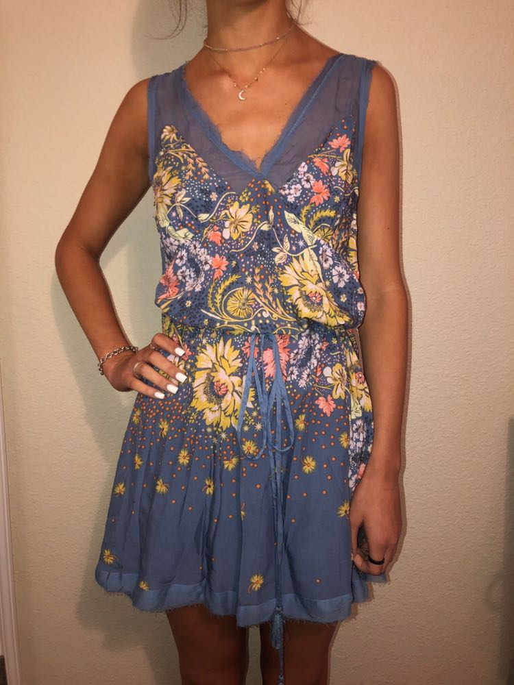 Free People Blue Floral  Dress
