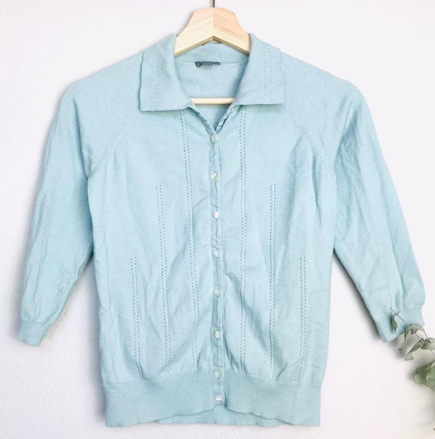 Ann Taylor Button Down 3/4 Sleeve Cable Knit Top