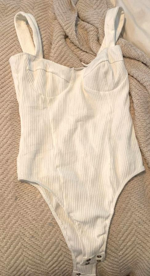 T.C. Ellis Rubbed Cotton White Button Body Suit
