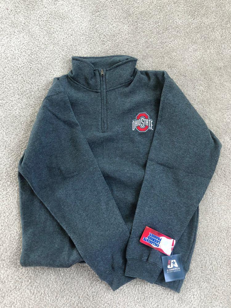J America Ohio State Grey Fleece Quarter Zip