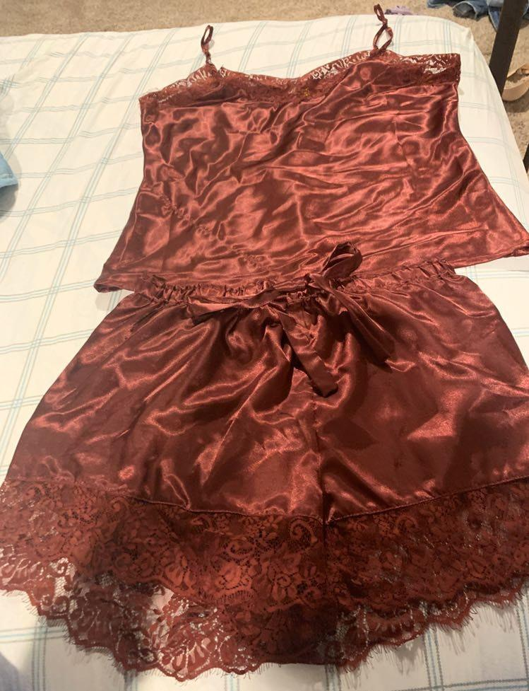 Maroon Silk Cami And Shorts Set