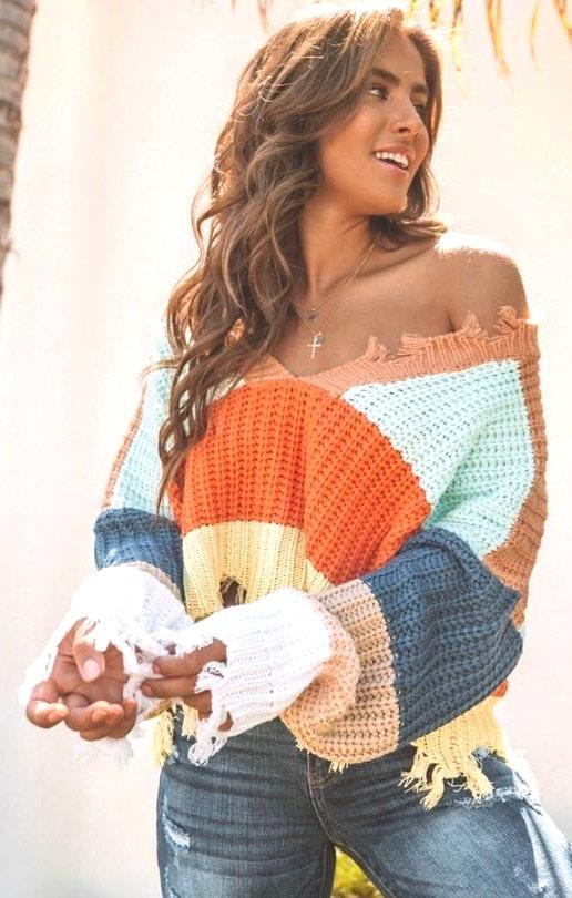 VICI Distressed Knit Sweater Striped
