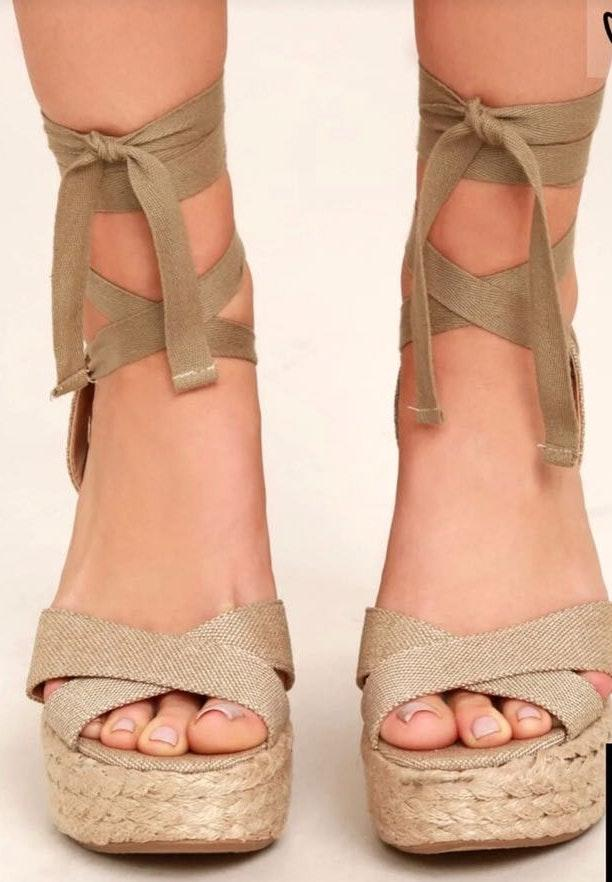 Lulus Nude Lace Up Wedges