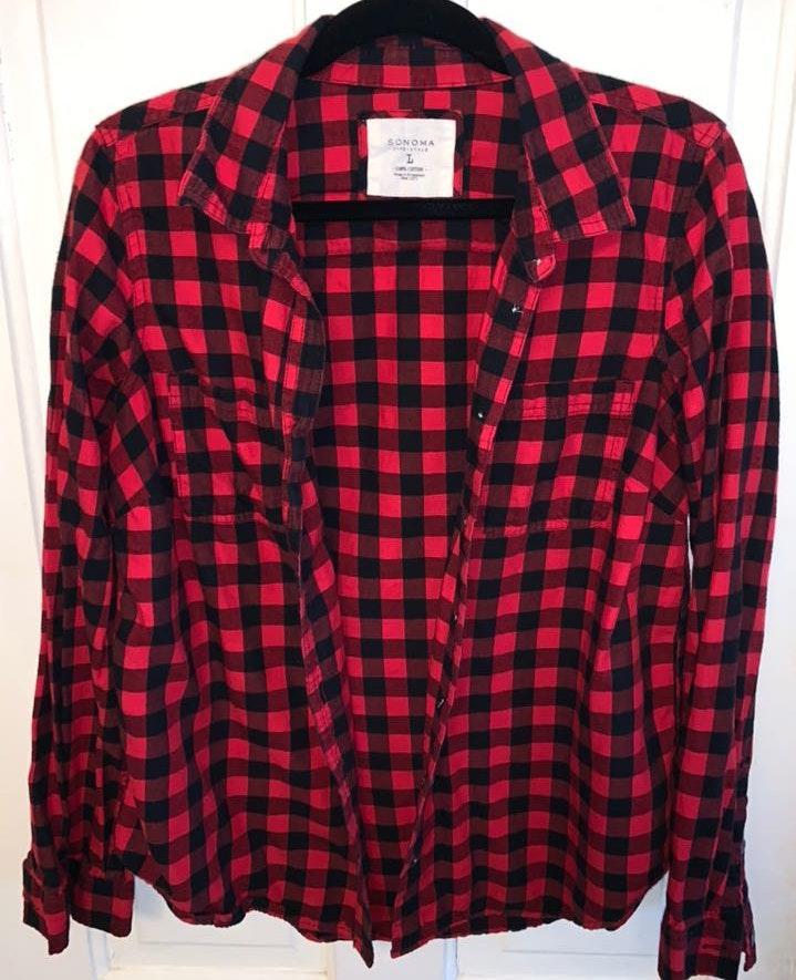 Sonoma Red And Black Plaid Flannel Shirt