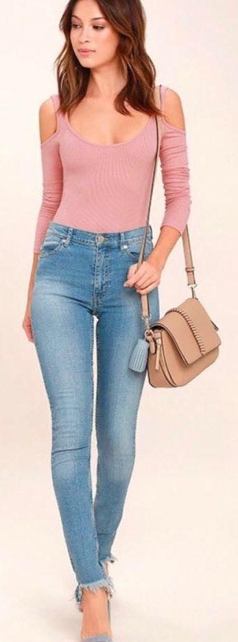 Lulus Pink Ribbed Longsleeve Bodysuit