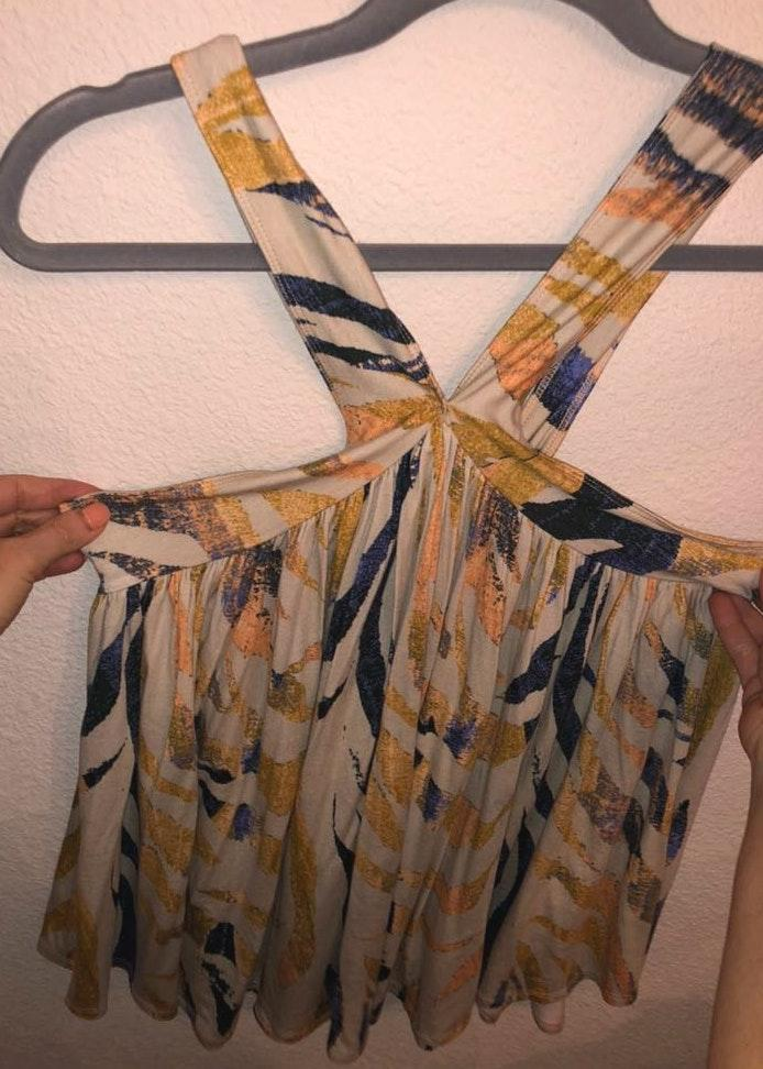 Free People Yellow And Blue Patterned Top