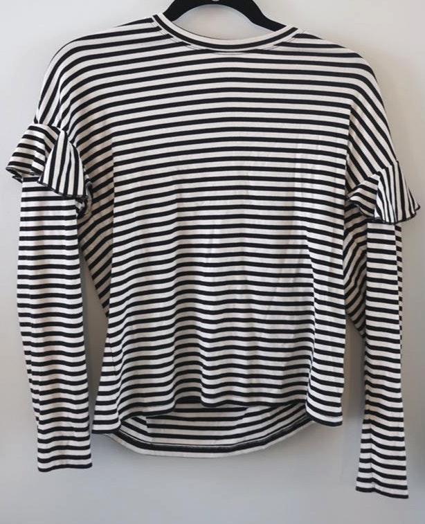 H&M Striped Ruffle Long Sleeve