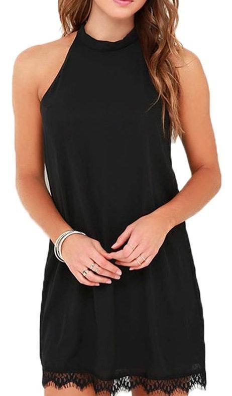 Amazon Black Lace Trim Dress