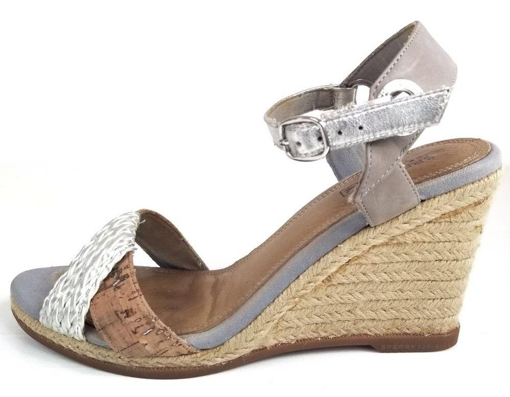 Sperry Silver Leather and Cork Wedges