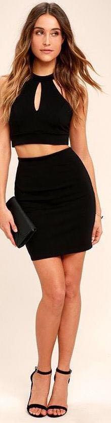 Lulus Black Two Piece Body Con Dress