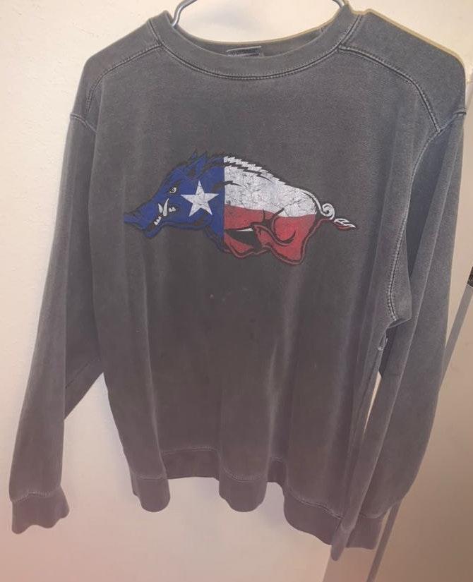 Comfort Colors Arkansas Sweatshirt With Texas Flag