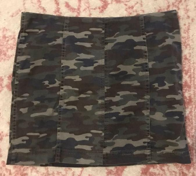Free People Denim Camouflage Skirt