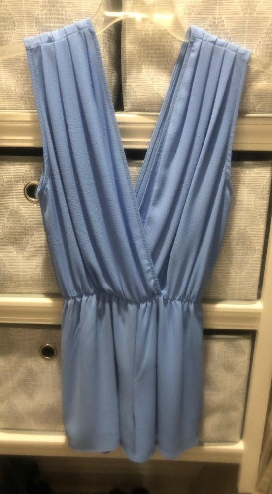 Show Me Your Mumu Light Blue Pleated Romper
