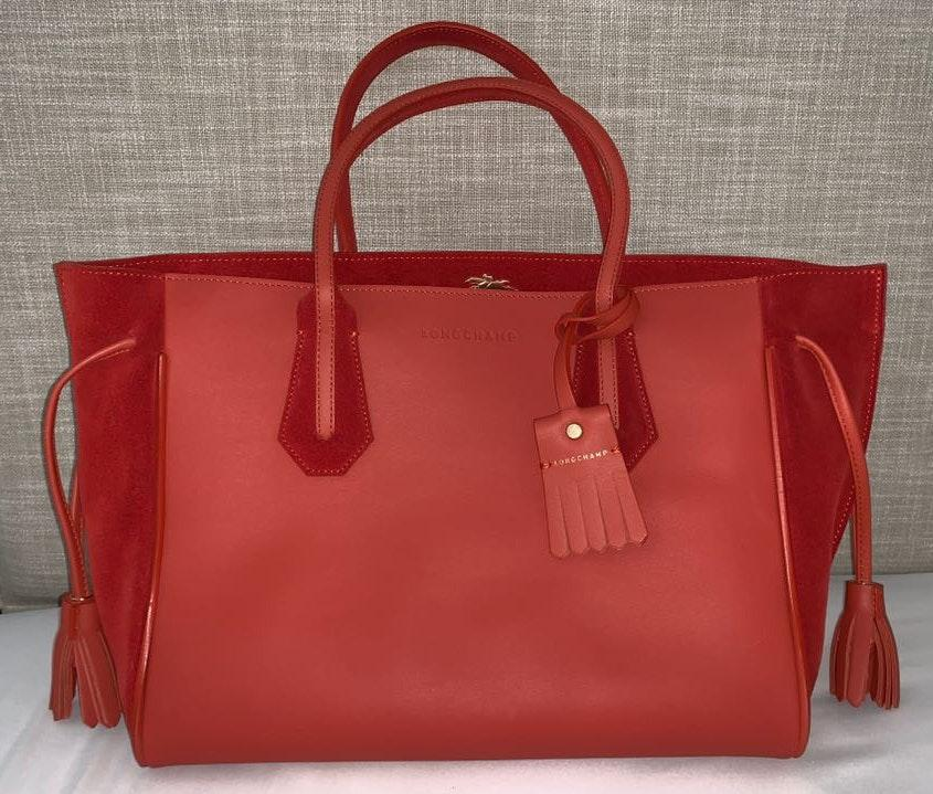 Longchamp Red Leather Fringe Tote