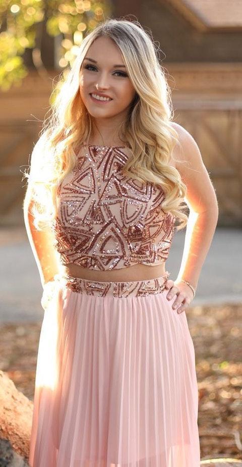 Xenia Rose Gold 2 Piece Dress