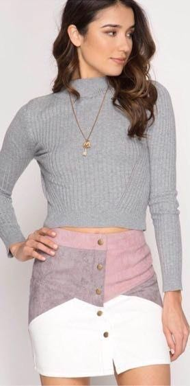 She & Sky Pink and White Snap Front Corduroy Skirt