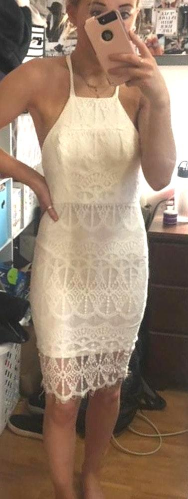Xenia NWT White Dress With Lace Detailing