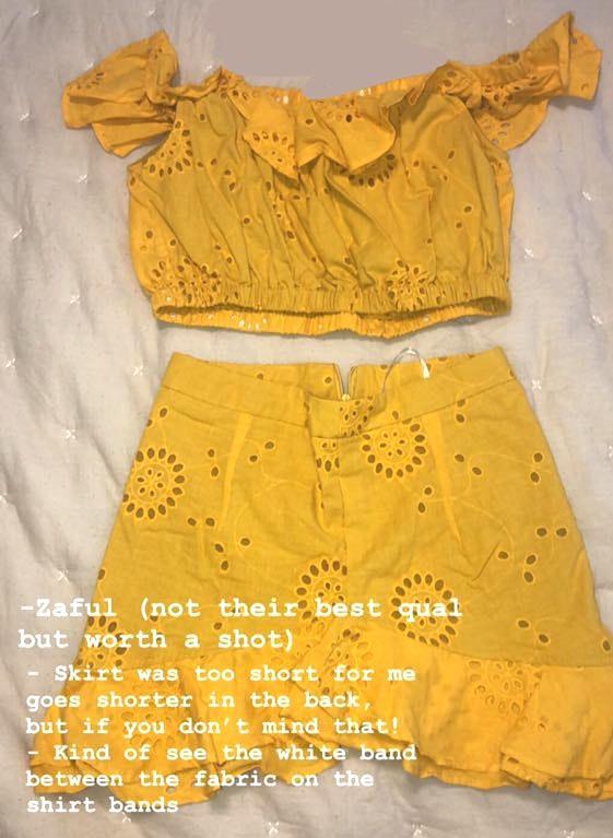 Zaful Yellow Two Piece Ruffle Crop And Skirt Set!