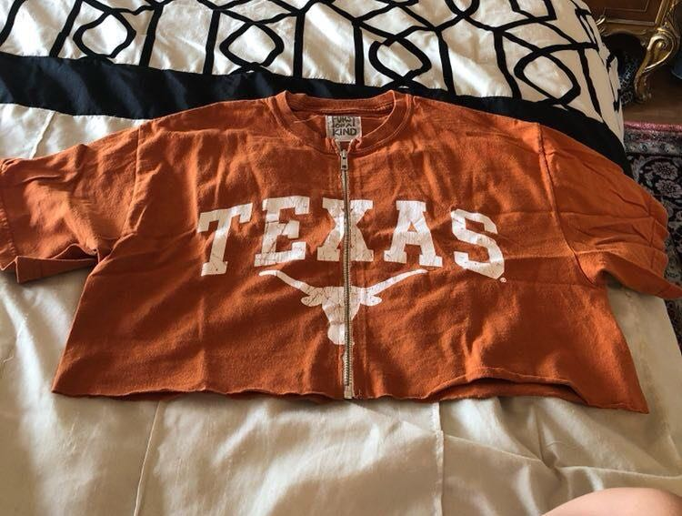 Furst of a Kind University Of Texas Cropped Zip Up