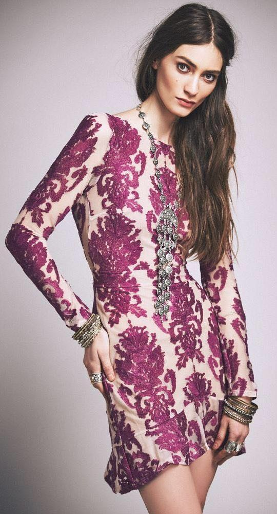 For Love & Lemons Purple Embroidered Backless Dress