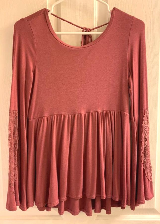 0fed63ca48 We're the buy/sell app for cute clothes. Say to being bored of your  clothes. Home American Eagle Outfitters Brick Red Bell Sleeve Top