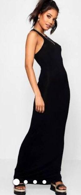 53d21deec2ad0 Boohoo Black Basic Racer Front Jersey Dress | Curtsy