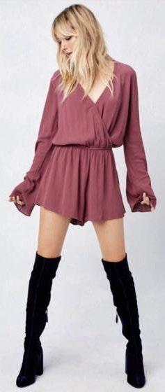 Love Stitch NWT  Plum Berry Long Bell Sleeve Wrap Front Romper - Size L