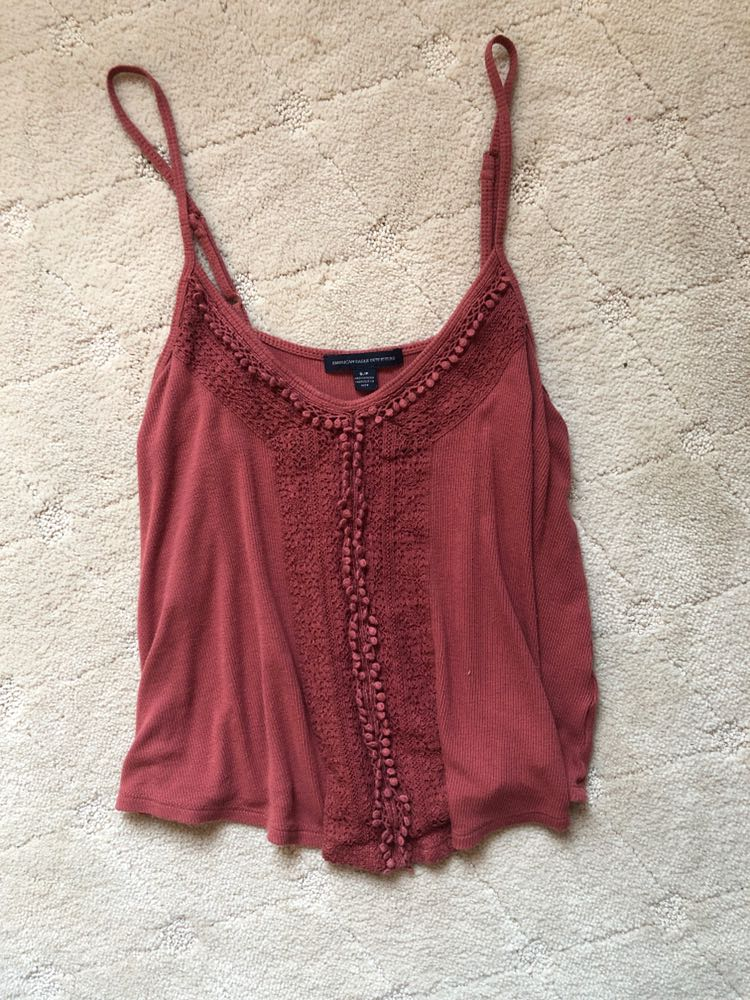 American Eagle Outfitters ribbed lace tank top