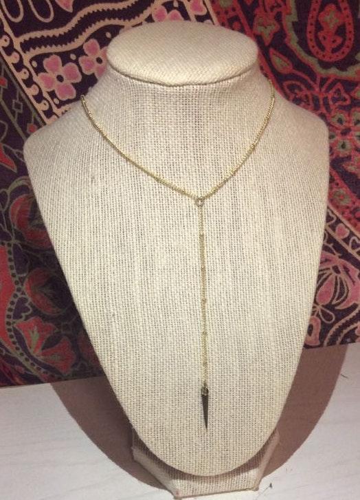 Handmade Gold Drop Spike Necklace