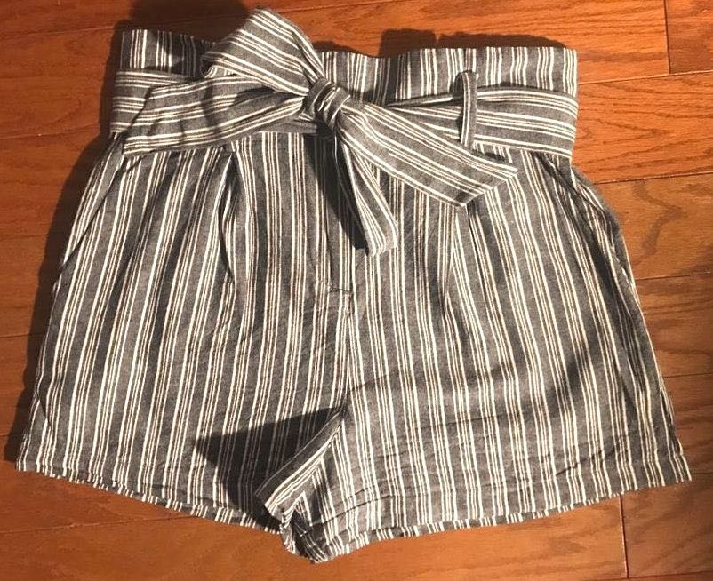 Socialite Belted Stripe Paperbag Waist Shorts
