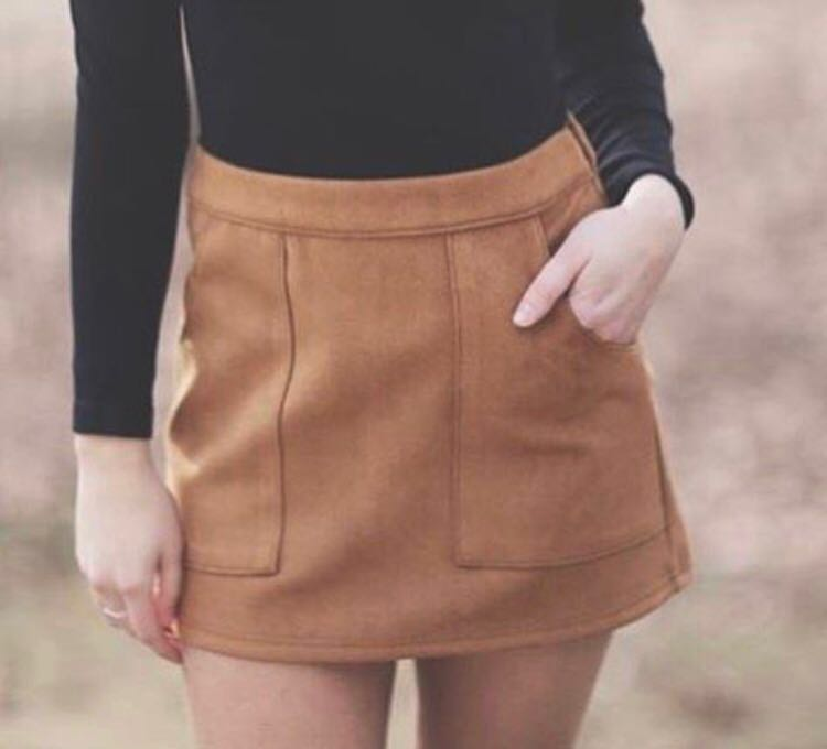 Honey Punch Camel Suede Skirt