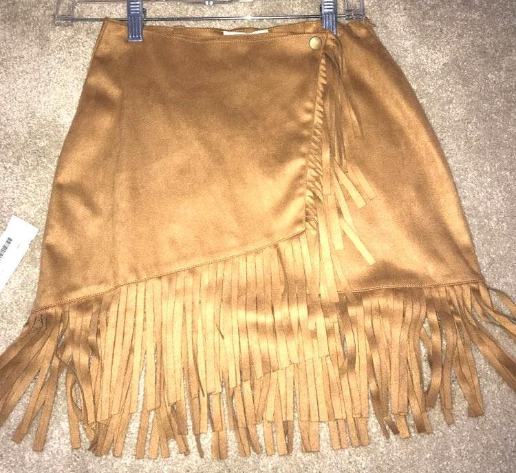 Cotton Candy LA Tan Suede Fringe Skirt