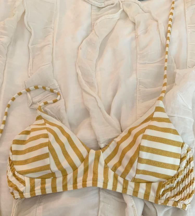 Billabong Gold And White Halter Bikini