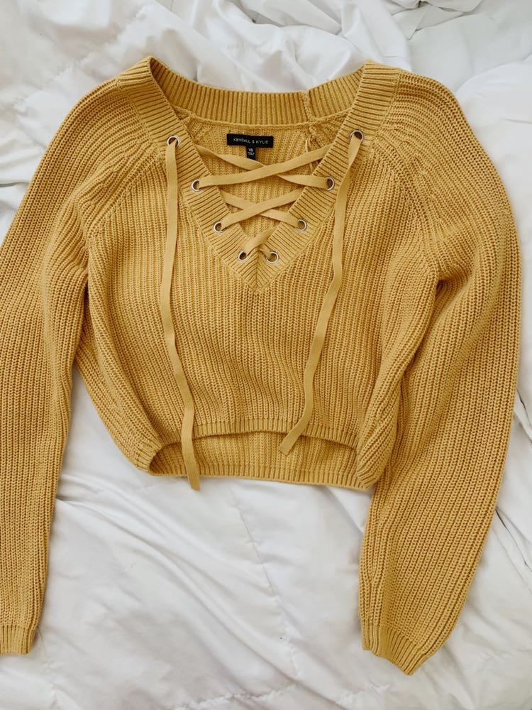 Kendall & Kylie Yellow Crossed Over Long Sleeve