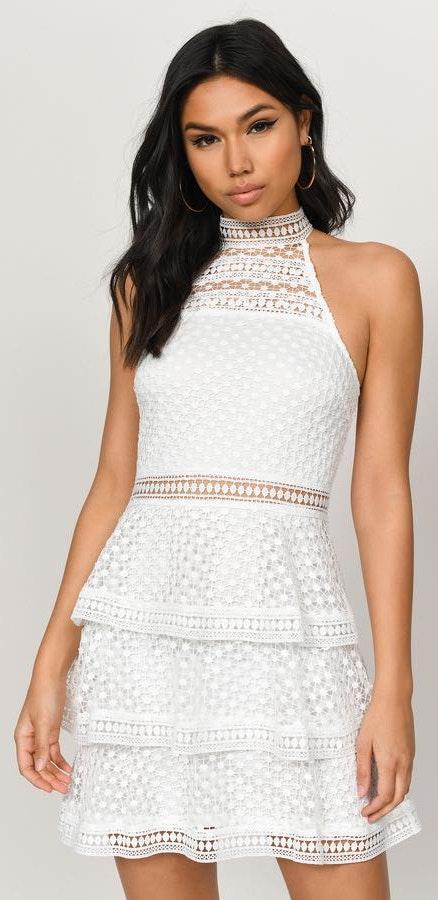 Tobi White High Neck Lace Dress