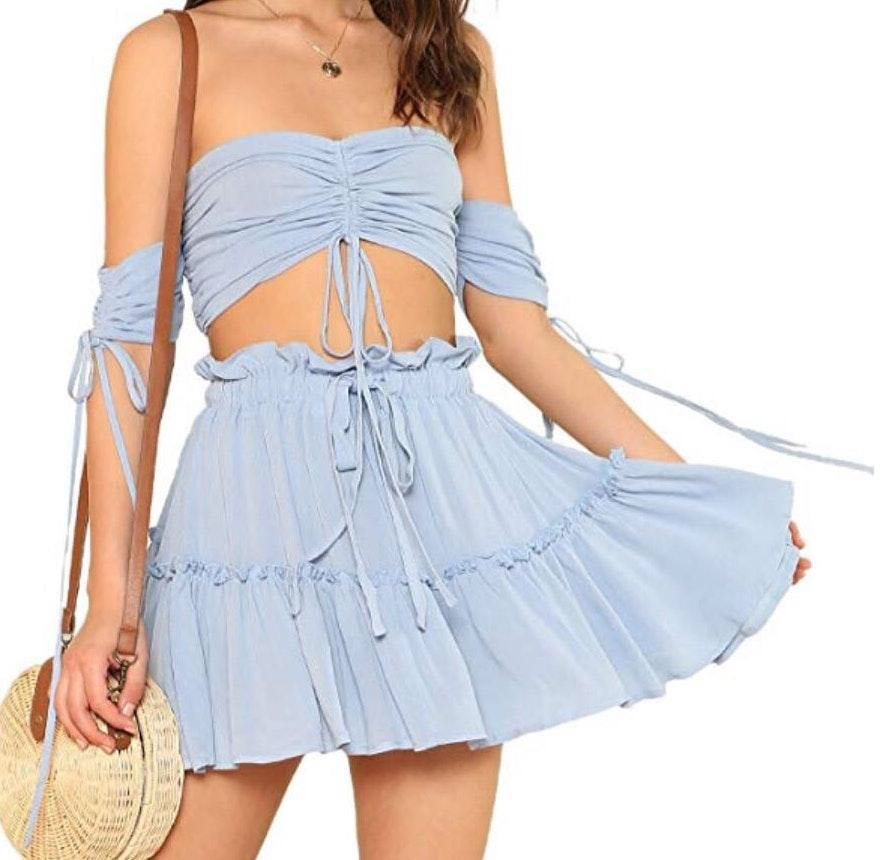 Two Piece:Crop Top and Skirt