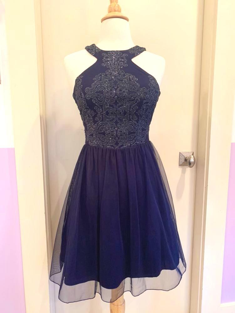 Speechless Navy Short Formal Dress