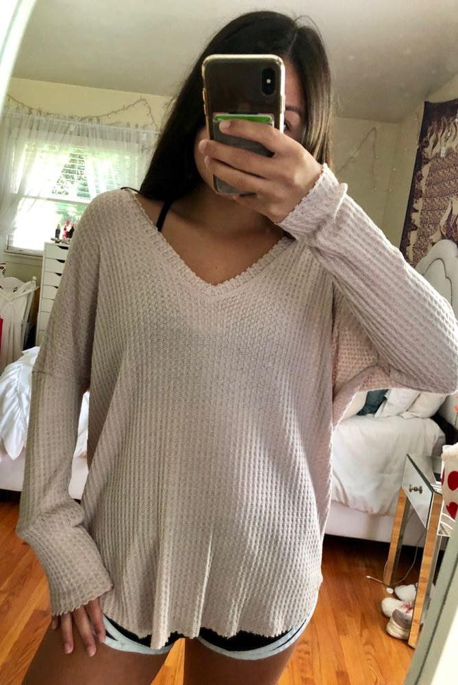 Forever 21 Beige Waffle Knit Sweater