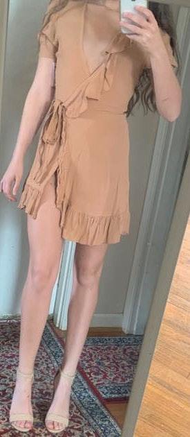 Privacy Please Beige/blush Wrap Dress