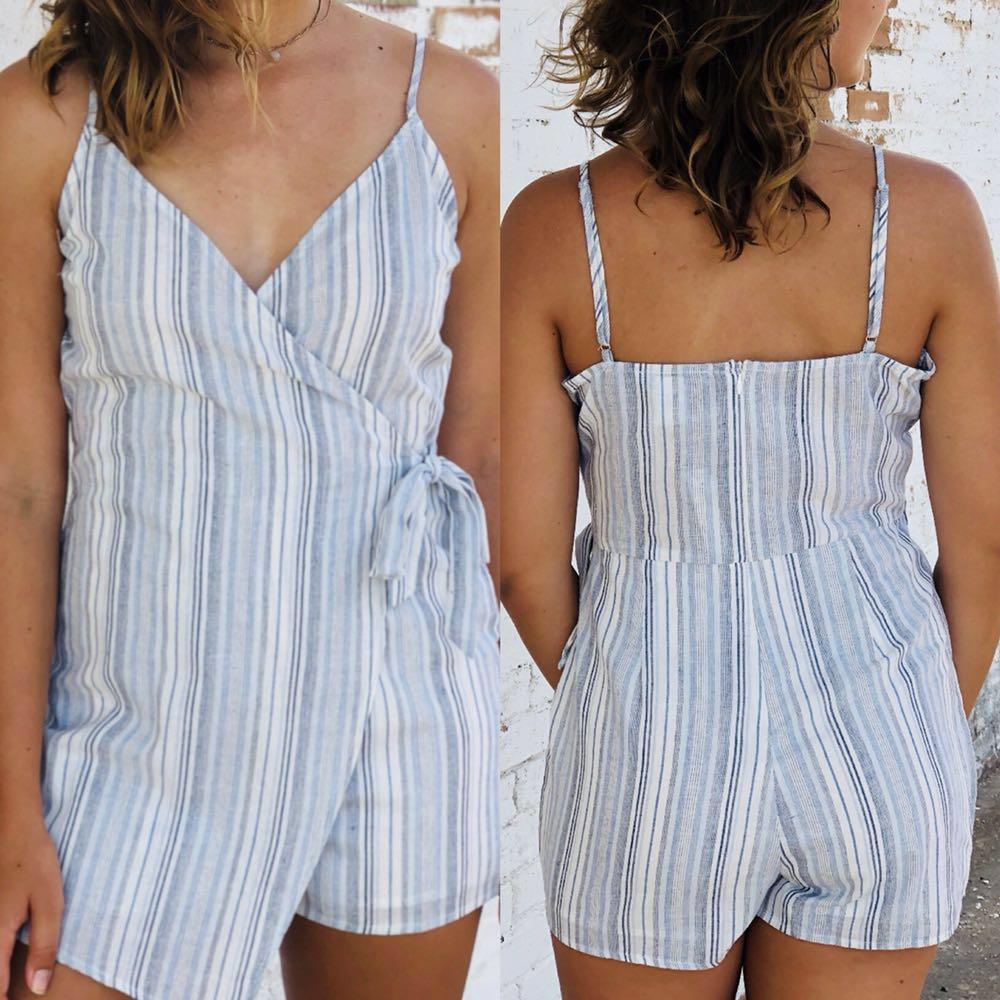 Boutique Stripe Wrap Romper