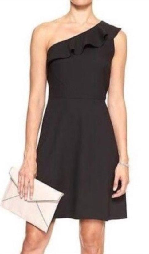 Banana Republic black one shoulder dress