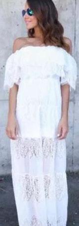 L'ATISTE White off the shoulder maxi dress