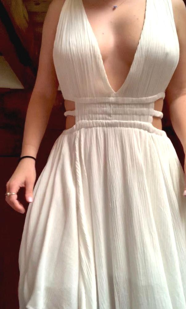 Boutique White Plunging Cut-Out Dress