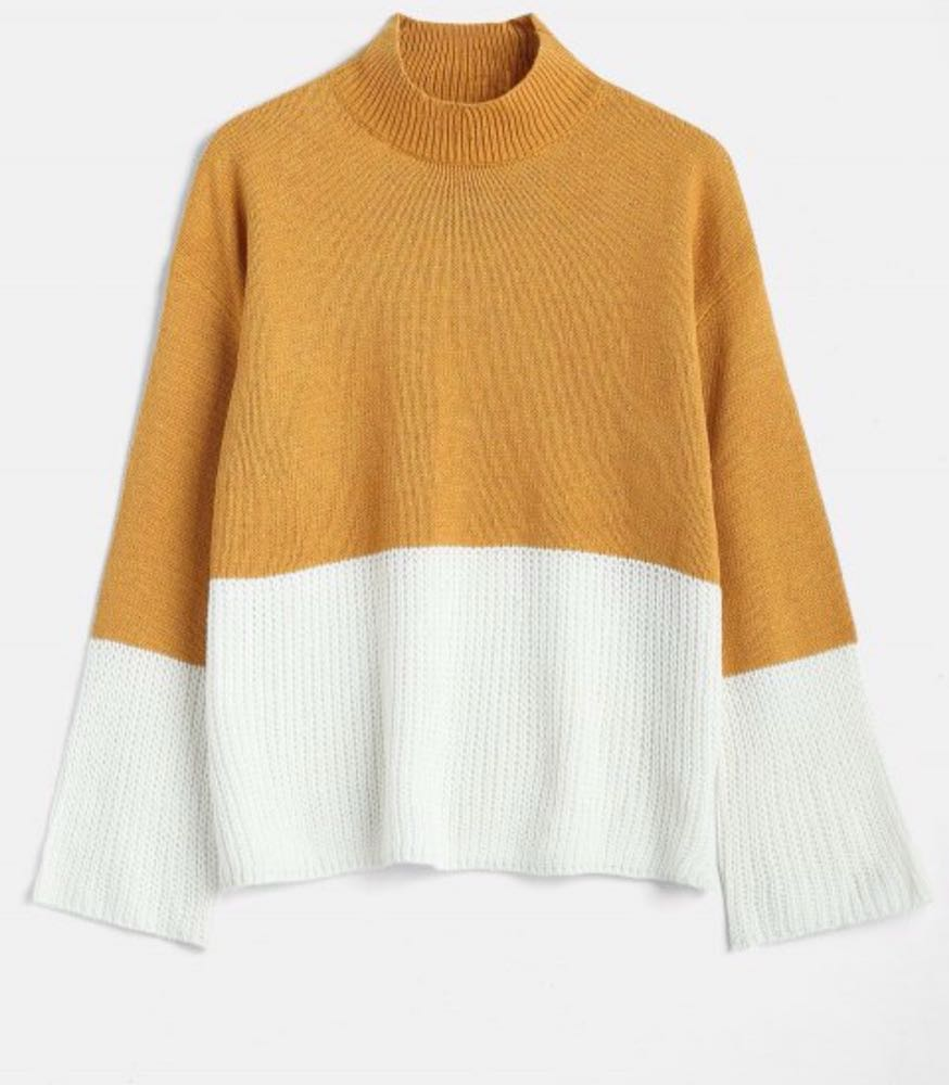 Zaful Orange And White Color Block Sweater