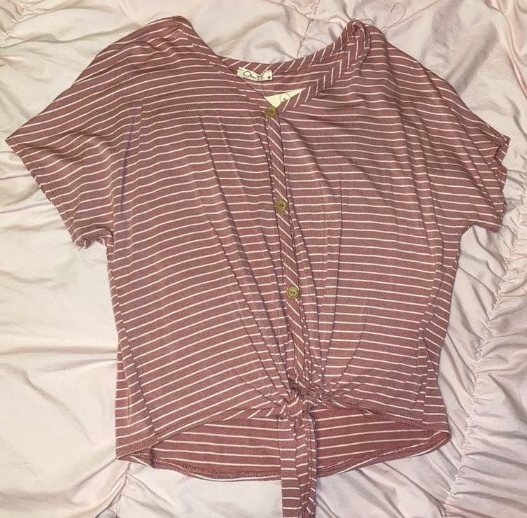 TJ Maxx Striped Shirt With Tie Front