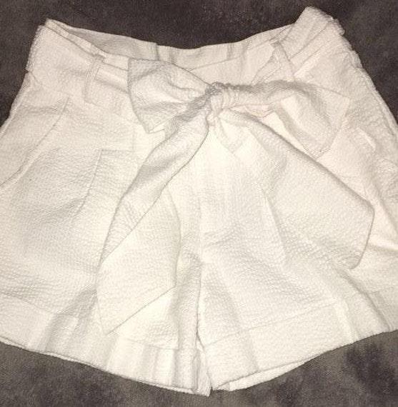 Lauren James White Seersucker Bow Shorts