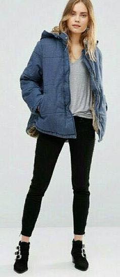 Free People Fur Lined Quilted Denim Jacket
