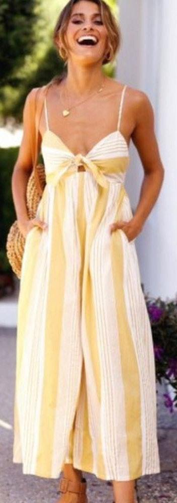 SheIn Yellow And White Striped Jumpsuit