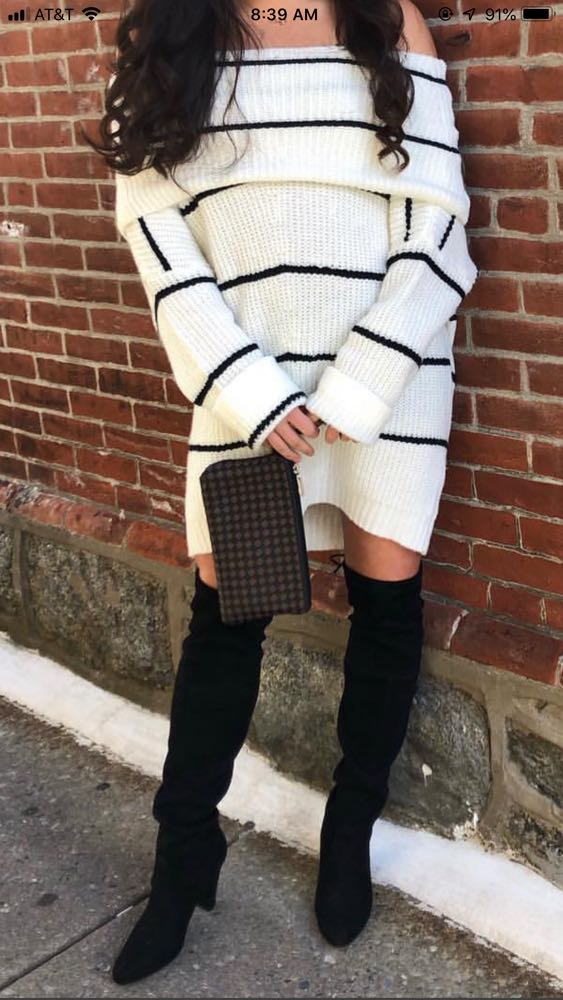 Boutique White And Black Striped Off The Shoulder Sweater