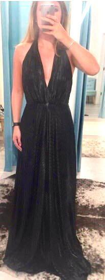 Jill Jill Stuart Metallic Black Evening Gown